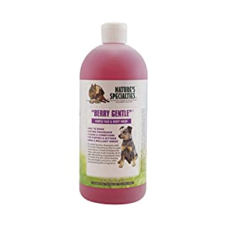 Nature's Specialties Berry Gentle Shampoo for Dogs Cats, Non-Toxic Biodegradeable, 32oz