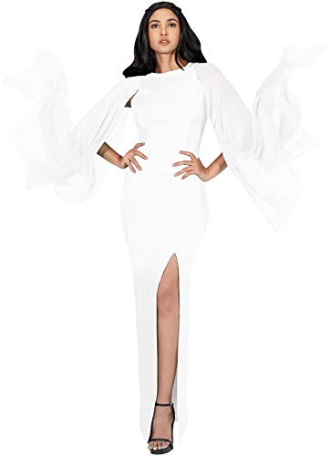 KOH KOH Womens Long Flowy Chiffon Sleeve Cocktail Party Formal Elegant Evening High Slit Full Floor Length Bridesmaid Prom Gown Gowns Maxi Dress Dresses, Ivory White L 12-14 ()