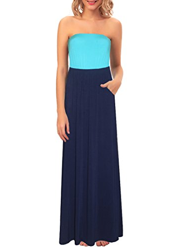 Kranda Women's Strapless Striped Tube Pocket Long Maxi Dress (Prime) (Large, Blue Navy)