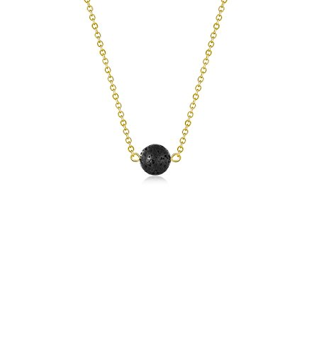 Lava Stone Bead Essential Oil Diffuser Necklace, Lava Ball Essential Pendant Aromatherapy Jewelry With Stylish Golden 16.5