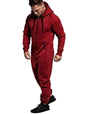 COOFANDY Mens Hooded Jumpsuits Full zip One Piece Lightweight Romper Athletic Running Jogging Tracksuit with Pokects