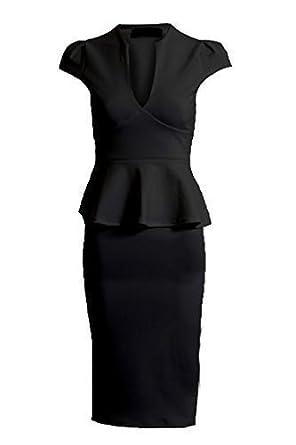Damen mit Gürtel Schößchen Knielang Rüsche Bleistiftrock Bodycon Smart Kleid