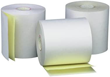 "AM-Ink Two Ply Carbonless POS Receipt Paper Rolls 3"" x 90' 2-Ply White/Canary - 50 Rolls"