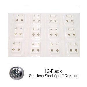 Studex Sterilized Piercing Earrings (Studex Sterilized Piercing Earrings * Ear Stud * Stainless * April *12 Pair Individually Pk *regular)