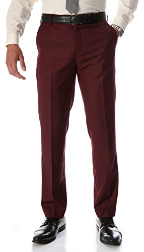 Ferrecci Men's Halo Slim Fit Flat-Front Dress Pants (Burgundy, 30x30)