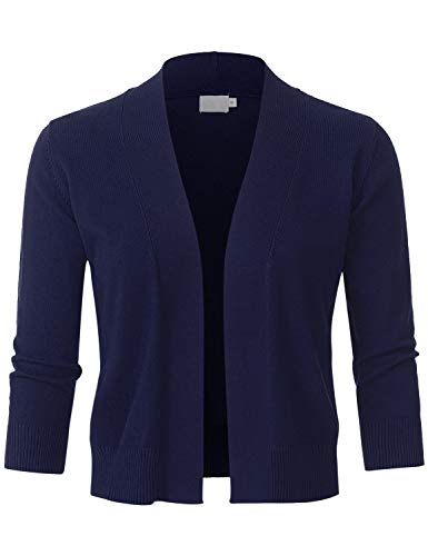 (JSCEND Womens Classic 3/4 Sleeve Open Front Cropped Bolero Cardigan Navy 3XL)