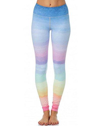 Women's Rainbow Gym Leggings Gradient Colorful Yoga Pants,M