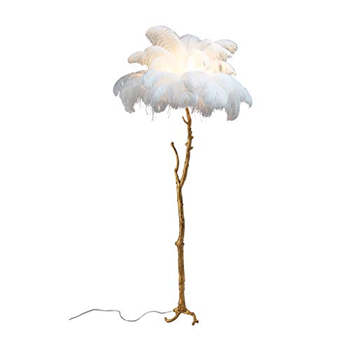 Copper Feather Floor Lamp - AA European Feather Floor Lamp Living Room Bedroom White Copper Branch Tall Pole Standing Light