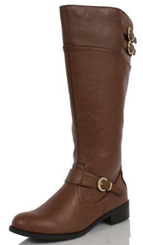 Soda Wome's Golf Faux Leather Knee High Riding Boot Tan, 5.5 M US