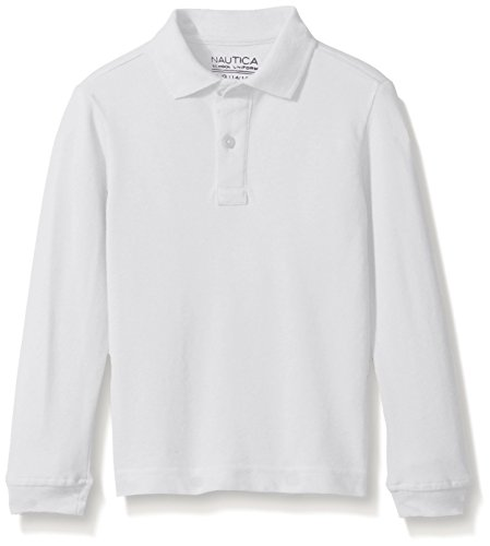 Nautica Big Boys' Uniform Long Sleeve Pique Polo, White, X-Large/18/20-Husky