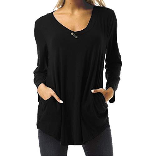 ANJUNIE Pullover Shirts Women's Elegant Long Sleeve Sweatshirt Solid V-Neck Female Work Wear Tops(Black,S) -
