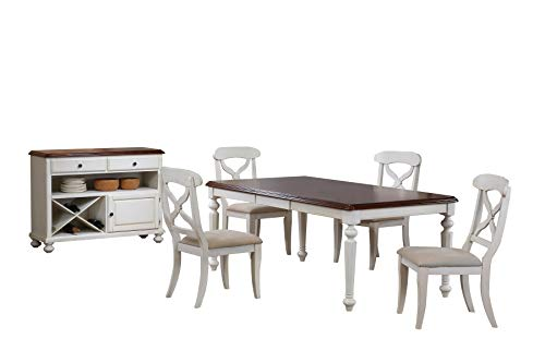 Sunset Trading DLU-ADW4276-C12-SRAW6PC Andrews Dining Table Set Antique White with Distressed Chestnut ()