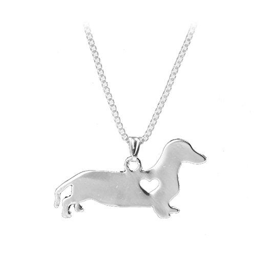 Dachshund Necklace - Silver Dachshund Necklace, Dachshund Pendant Necklace, Dog Jewelry by Zaasy
