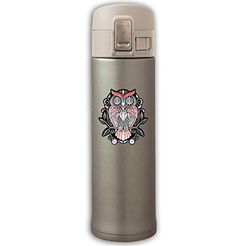 Stainless Steel Mug Sugar Floral Skull Owl Bouncing Cover Insulation Vacuum Cup Bottle Thermos Mug Natural