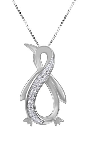 White Natural Diamond Penguin Infinity Pendant Necklace 14k White Gold Over Sterling Silver (1/10 Ct) (Diamond Pendant White Gold Jewelry)