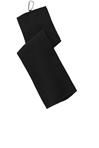 - Port Authority Waffle Microfiber Golf Towel OSFA Black
