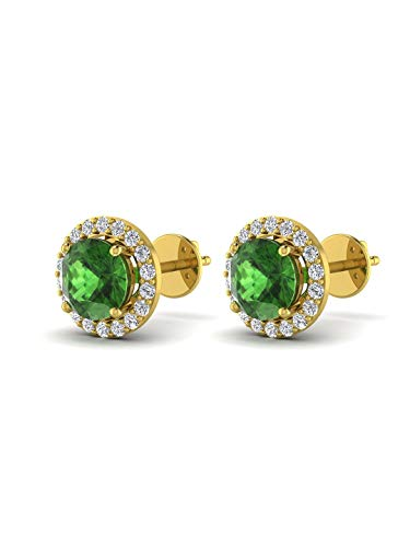 Stud Earrings for Girls Solitaire Plus Diamond Accents Birthstone Gold Plated Brass Earrings Jewelry for Women by Pipa Bella (Green) ()