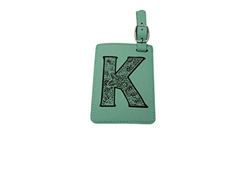 Luggage Tag Initial-Engineered Leather,Individual Letters-Personalized Luggage Tags (K) (Initial Tag)