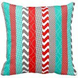 KarilShop Bright Neon Red And Teal Geo color Linen Throw Pillow Case Cushion Cover Home Sofa Decorative 18 X 18 Inch.