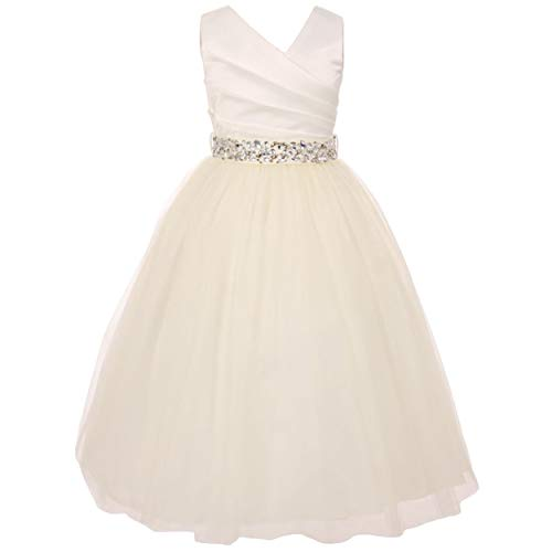 Sleeveless V Neckline Spinning Gathered Satin Rhinestone Waistline Girl Dress - Ivory - Ivory - Size 12
