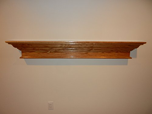 (Unfinished Red Oak or Paint Grade Poplar Contemporary Wood Floating Shelf Fireplace Mantel Mantle 48