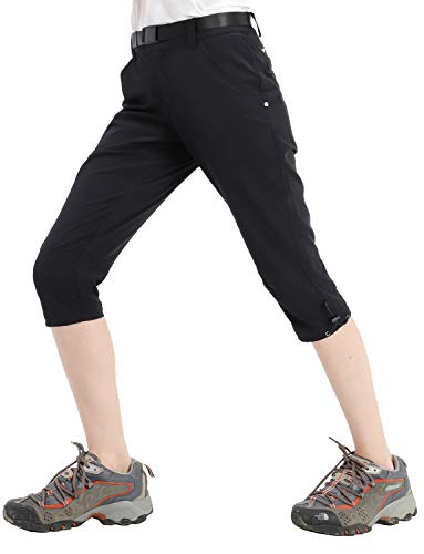 MIER Women's Hiking Capri Pants Lightweight Quick Dry Cargo Cropped Pants with 5 Pockets, Water Resistant, Black, 4