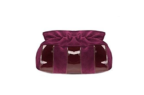 Borsa donna ANNALUNA viola vino MADE IN ITALY camoscio vernice borsetta N337