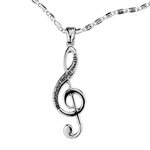 Embolden Jewelry Musical Note Necklace [Silver Engraved] Music Is What Feelings Sound Like [Treble Clef Charm Pendant] for Young Musicians ()
