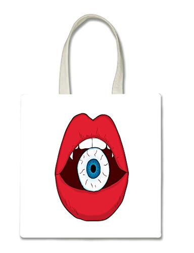 Red Lips With Eyeball Inside Art Picture Printed Tote Bag, 14.5x15