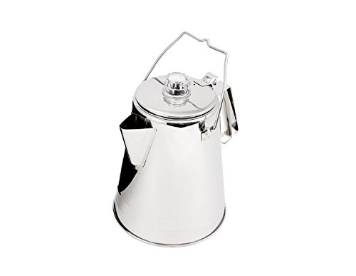 Camp Coffee Percolator - GSI Outdoors Glacier Stainless Coffee Percolator, Campfire, 14-Cup