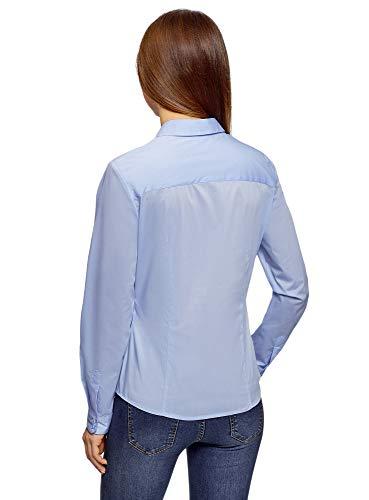 Camicia Oodji Ricamata Donna Blu Ultra Basic 7001n UUFqxZgr