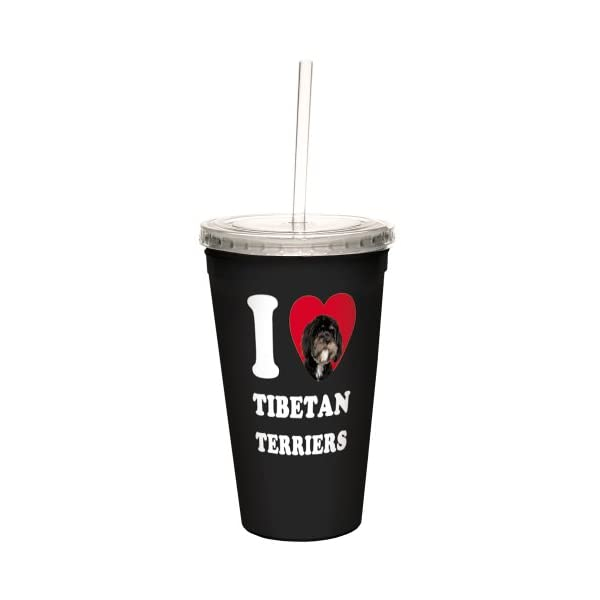 Tree-Free Greetings CC35133 I Heart Tibetan Terriers Artful Traveler Double-Walled Cool Cup with Reusable Straw, 16-Ounce, Black and White 1