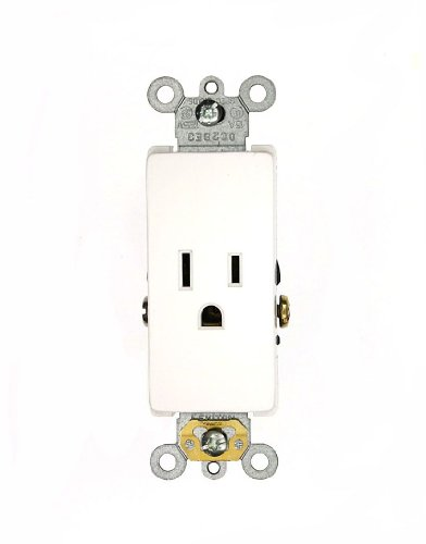 Leviton 16241-W 15 Amp, 125 Volt, Decora Plus Single Receptacle, Straight Blade, Commercial Grade, Self-Grounding, White