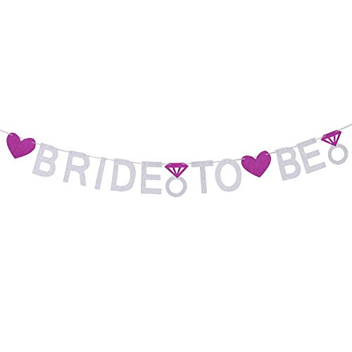 QIYNAO Silver Bride To Be Banner with Purple Glitter Heart and Rings - Bridal Shower Party Supplies Decorations