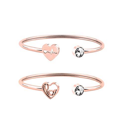WUSUANED Dainty Heartbeat Stethoscope Cuff Bracelet Gift for Nurse Doctor Medical Student (Heartbeat 2 Stethoscope Set RG)