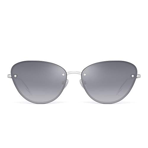 JIM HALO Rimless Cat Eye Sunglasses for Women Trendy Gradient Lens Metal Frame (Sliver/Gradient Grey)