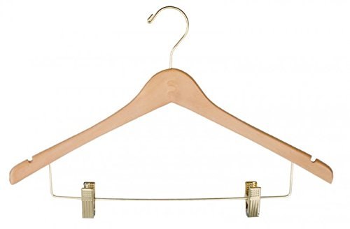 NAHANCO 71-17RCGH 17'' Ladies Wood Suit Hanger Natural Lacquered Finish with Gold Clips (Pack of 100) by NAHANCO