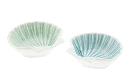 The Bridge Collection Set of 2 Coastal Ceramic Trinket Dishes (Sea Shells) ()