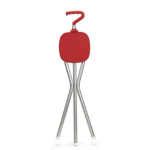 Red Sport Seat Walking Cane and Seat Combination - Ultra light - Made in USA (Cain Kitchen Stool)