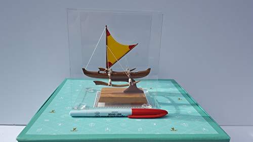 Handcrafted Miniature Hawaiian Racing Outrigger with sail, Nautical Decor.