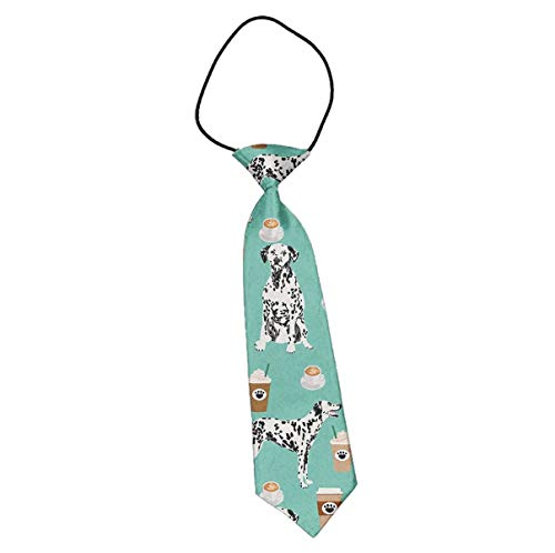 Kid's Polyester Skinny Necktie, Dalmatians Cute Mint Coffee Best Dalmatian Dog, Elastic Neck Strap Formal Events Tie, For Infant/Youth/Adult -