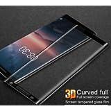 Elica - Nokia 8 Sirocco - 5D Tempered Glass | Premium Full Front Body Cover | Edge to Edge Screen Guard protector - BLACK
