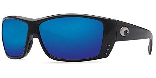 Costa Del Mar Cat Cay Sunglasses, Black, Blue Mirror 580 Plastic Lens