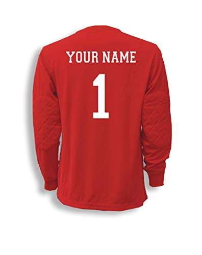 Adult Reds Jersey - Soccer Goalkeeper Jersey personalized with your name and number - size Adult L - color Red