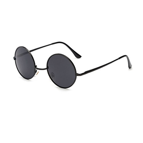 Out Lenses Blacked Contact (Unisex Classic Round Lennon Inspired Style Polarized Metal Goggle Sunglasses)