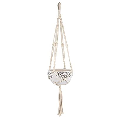 Mkono Macrame Plant Hanger Indoor Outdoor Hanging Planter Basket Cotton Rope 4 Legs 41 Inch