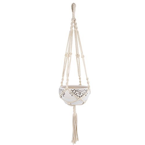 Mkono Macrame Plant Hanger Indoor Outdoor Hanging Planter Basket Cotton Rope 4 Legs 41 Inch by Mkono