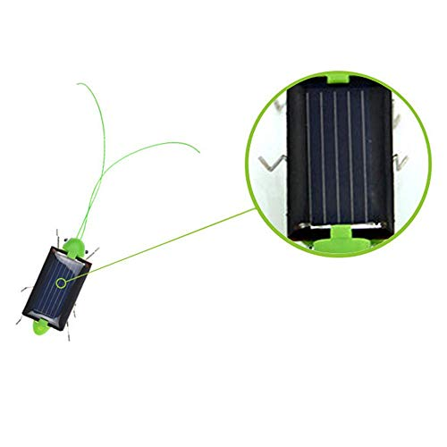 JSPOYOU Educational Solar Powered Grasshopper Robot Toy Solar Powered Toy Gadget Gift Green