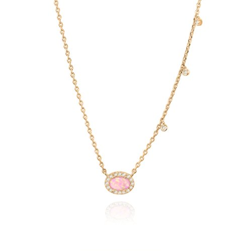PAVOI 14K Rose Gold Plated Oval Shape Created White Opal Necklace 14k Created Opal Pendant