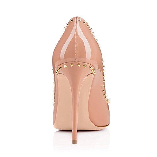 Heel with Red Toe Sole Round JOOGO Decoration Nude Slim Fashion High Women's Pumps Rivet qw8RIv